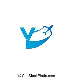 Letter Y with plane logo icon design vector illustration