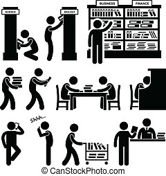 A set of pictograms representing a library scene with librarians and people.