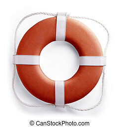 Red safe guard ring against white background with clipping path