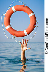 Lifebuoy for man in danger on sea. Rescue situation concept.