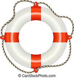 Lifesaver buoy isolated on white background