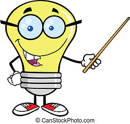 Light Bulb Character With Glasses Holding A Pointer
