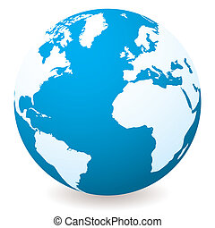 Blue illustrated globe with shadow and white land and ocean