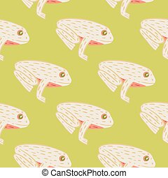 Light pink frog ornament seamless pattern in hand drawn doodle style. Pastel green olive background.