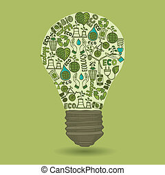 Lightbulb with sketch ecology and waste icons inside isolated on green background vector illustration