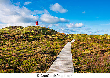 Lighthouse in Norddorf on the North Sea island Amrum, Germany