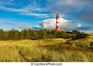 Lighthouse in Wittduen on the island Amrum