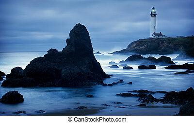 lighthouse in california at dusk