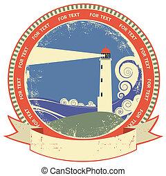 Lighthouse symbol. Vintage label on old paper texture
