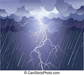 Lightning strike. Vector rain image with dark clouds
