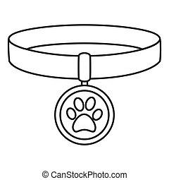 Line art black and white pet collar