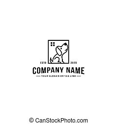 line art dog logo design vector