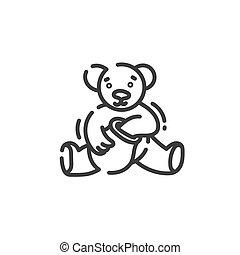 line art icon of bear eats honey from a clay pot