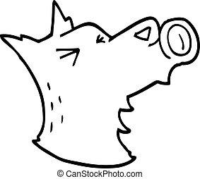 line drawing cartoon howling wolf