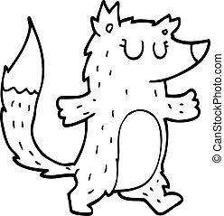 line drawing cartoon wolf