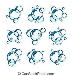Line soap bubble illustrations. Vector soaping and foam signs, round shape shiny clear bubbles icons, underwater oxygen simple images