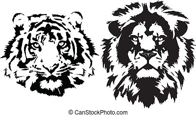 Lion and tiger head in black interpretation in vectorial format