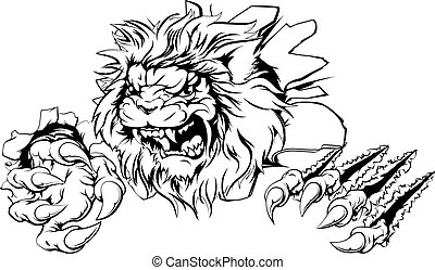 An attacking lion with claws breakthrough drawing of a lion tearing through the background
