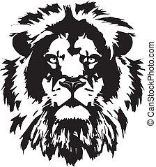 lion head black tattoo