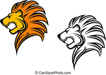 Isolated lion head as a heraldic symbol or sign