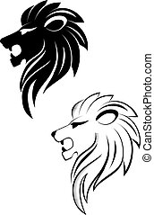 Isolated lion head as a symbol or sign