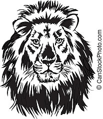 lion, illustration with only one colour