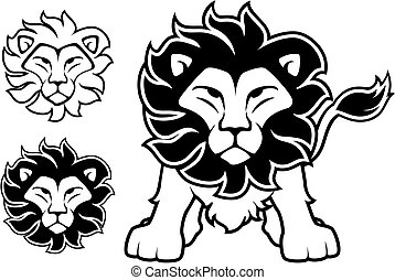 lion front view and head designs isolated on white background, in vector format very easy to edit, individual objects