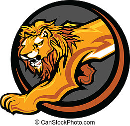 Lion Mascot Body Vector Graphic