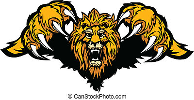 Graphic Mascot Vector Image of a Pouncing Lion Body