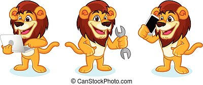 Lion Mascot Vector with laptop