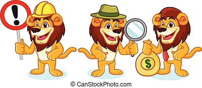 Lion Mascot Vector with money
