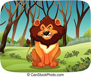 Lion Sitting In The Woods