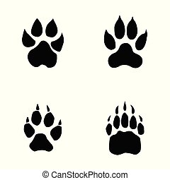 lion, tiger, wolf, bear footprint on white background