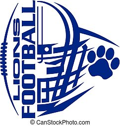 lions football team design with helmet and paw print for school, college or league