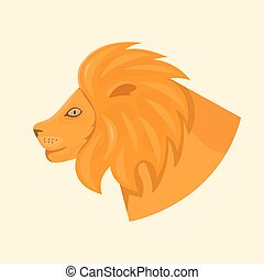 Lions head side view vector illustration