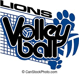 lions team volleyball design with paw prints and net