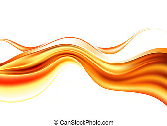 orange abstract waves on white background