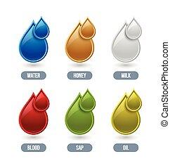 Set of glossy liquid icons isolated on white background