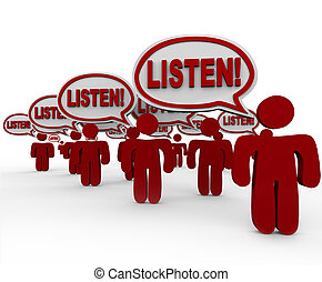 The word Listen! in many speech bubbles spoken by people who are gathered to make their voices heard and get you to pay attention and hear their demands