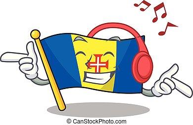 Listening music flag madeira mascot cartoon character design
