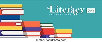 World Literacy Day web banner illustration of colorful school books for children education. EPS10 vector.