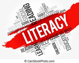 Literacy word cloud collage, education concept background