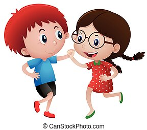 Littel boy and girl dancing