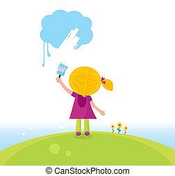 Cute child painting blue cloud. Vector Illustration.