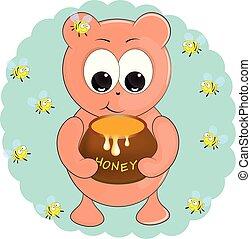 little bear with honey. cartoon vector illustration.