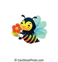 Little bee cartoon character with flower flat vector illustration isolated.