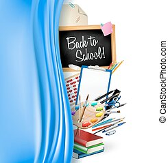 little blackboard border with notepad sheets, color pencils, pens, ruler, art palette, pile of books and silky curtain. back to school vector background