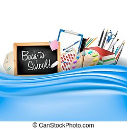 little blackboard border with notepad sheets, color pencils, pens, ruler, art palette, pile of books and silky curtain. back to school vector horizontal background