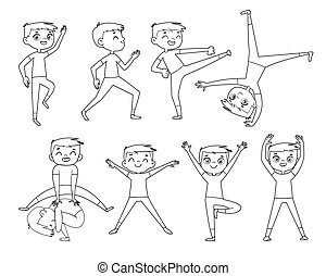 Little boy doing physical exercises. Outline drawing