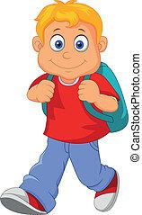 Vector illustration of little boy walking to school